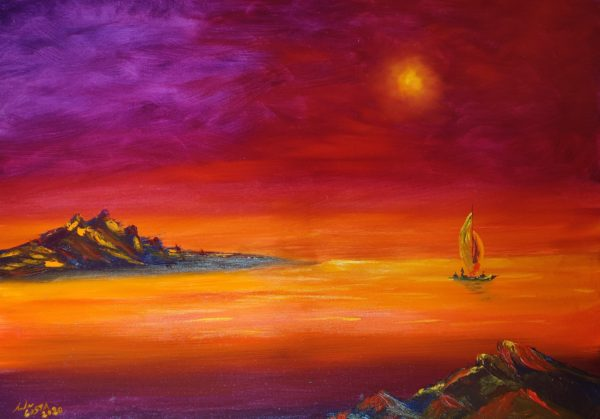 L'isolotto di Gioelia dipinto ad olio dell'Artista Andrea Costa