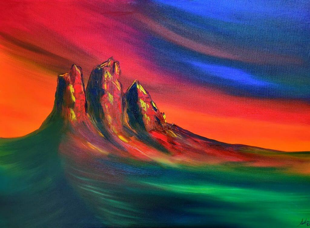 """Andrea Costa dipinge """"Le Lavaredo"""""""