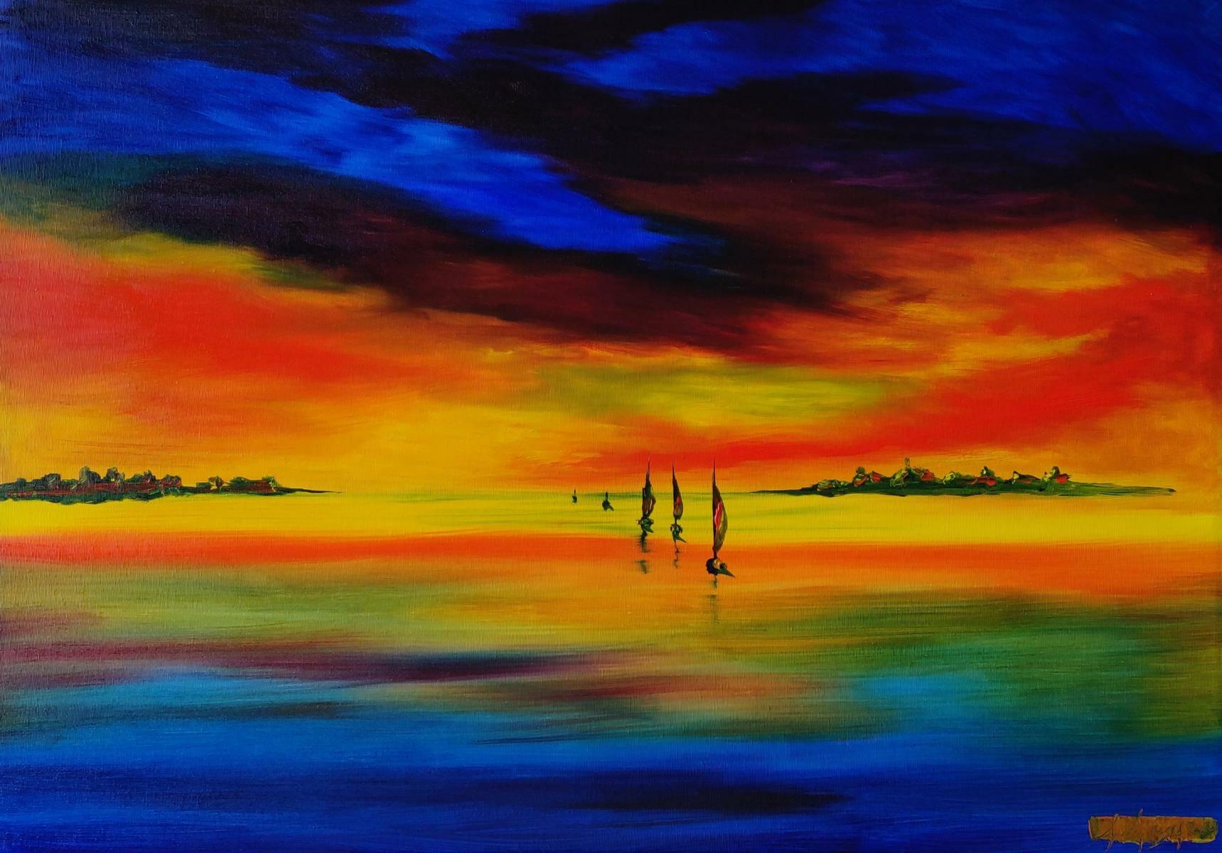 L'isola di Barbana colorata da Andrea Costa il pittore di Auronzo di Cadore