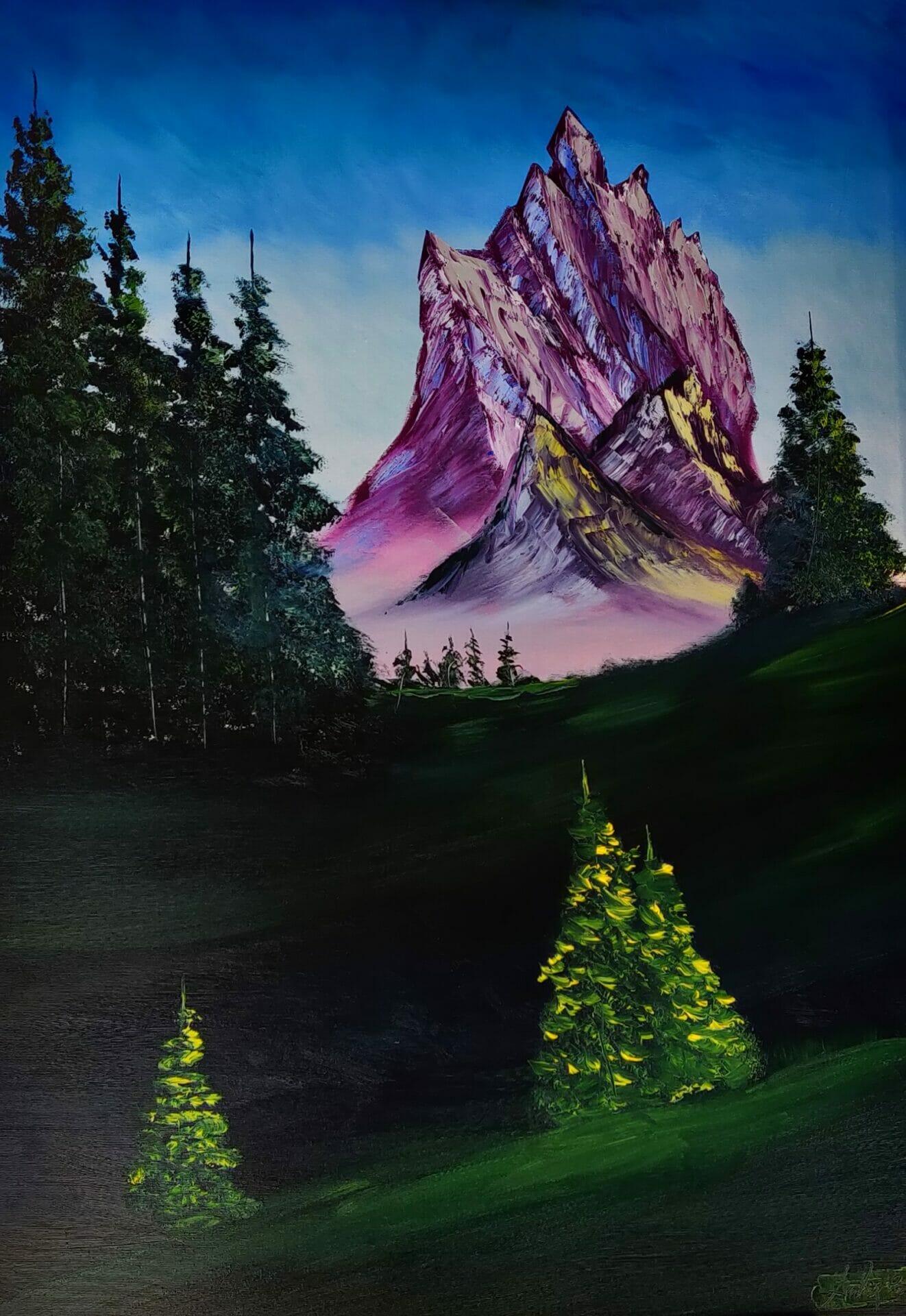 La Foresta, olio su tela 70x100 del pittore Andrea Costa di Auronzo di Cadore